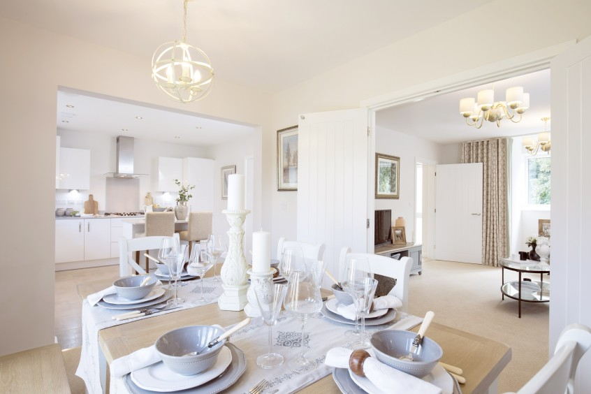 The dining room of The Elm showhome at Wexham Green, Berkshire. Call 01753 46878 2