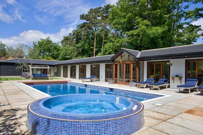 The swimming pool at High Barn, Effingham.
